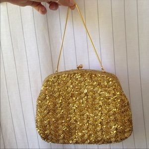 Vintage Gold Beaded Wristlet Purse